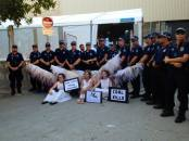Climate Guardian Angels at the G20 in Brisbane with their police escort http://climacts.org.au/2014/11/17/g20-climate-guardian-angels/