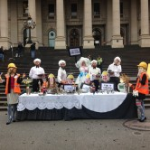 The Coal Diggers launch their new cookbook on the steps of Parliament House http://climacts.org.au/2015/03/19/coal-diggers-launch-new-cookbook/